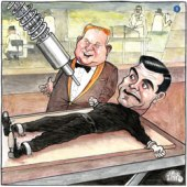 A cartoon of James Bond on a table with a laser pointed at him
